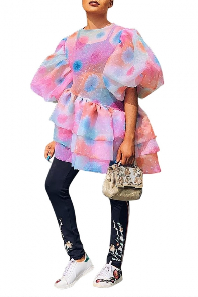 Women's Funny Tie-dye Short Sleeve Round Neck Ruffle Hem Mini Pink Bubble Pink Dress