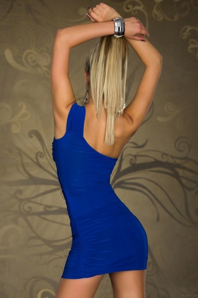 Women's Sexy Lace Patched One Shoulder Sleeveless Plain Mini Bodycon Pleated Club Dress