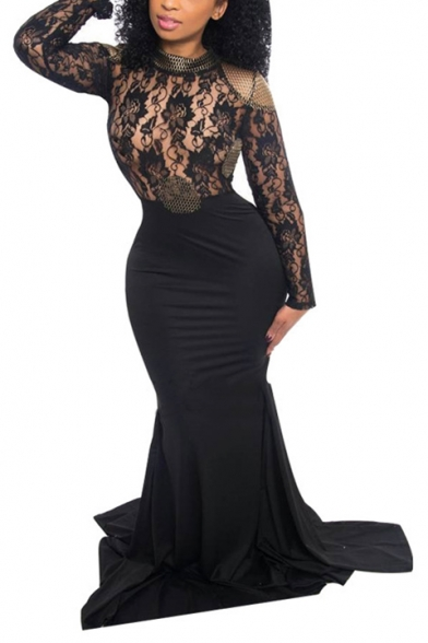 Women's Trendy Round Neck Long Sleeve Printed Lace Patch Bodycon Length Floor Black Dress