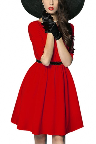 Women's Vintage Basic Simple Plain Round Neck Half Sleeve Belted Waist Midi Fit and Flared Dress