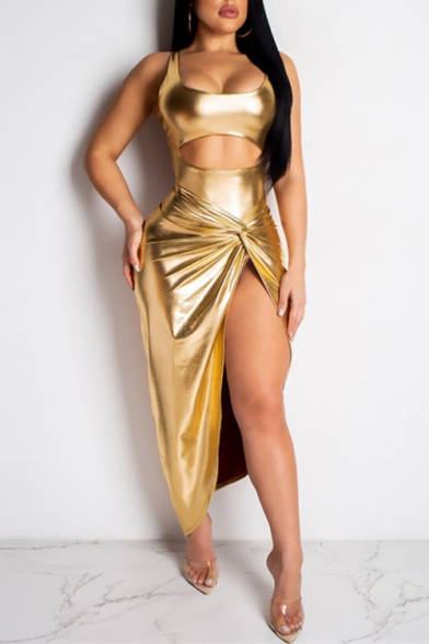 Womens Chic Metallic Color Gold Scoop Neck Sleeveless Cutout Front Twist Detail Maxi Night Club Dress