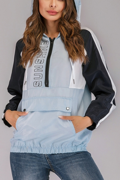 Womens Cool Simple Letter Printed Colorblock Long Sleeve Zipper Front Light Blue Hoodie