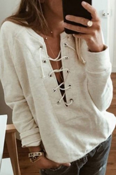 Womens Lace Up Hollow V Neck Raglan Sleeve Plain Pullover Sweatshirt