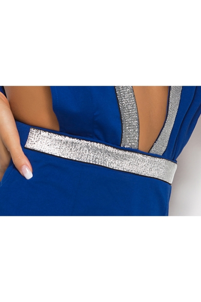 Womens Sexy Fashion Sequined Patched Plunged V-Neck Open Back Mini A-Line Night Club Dress with Choker