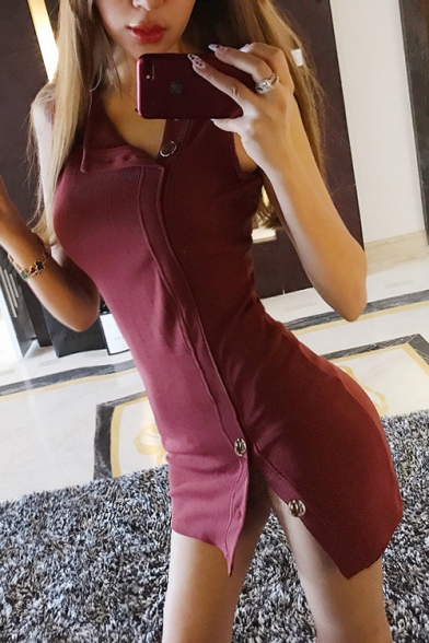 Womens Simple Plain Chic Button Embellished Sleeveless Mini Bodycon Burgundy Dress LM535680 фото