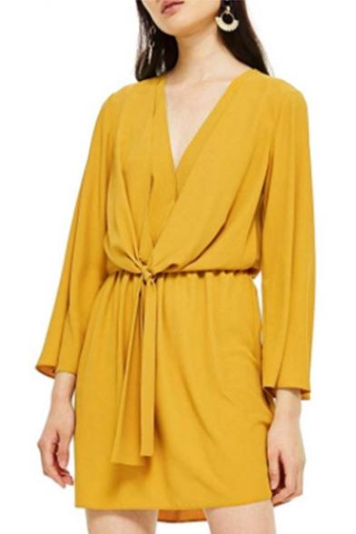 Womens Summer Hot Fashion Simple Plain V-Neck Long Sleeve Mini Sheath Dress