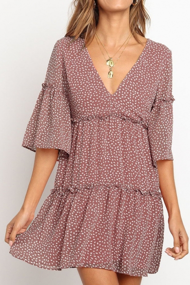Womens Summer New Trendy Polka Dot Printed V-Neck Mini A-Line Ruffled Dress