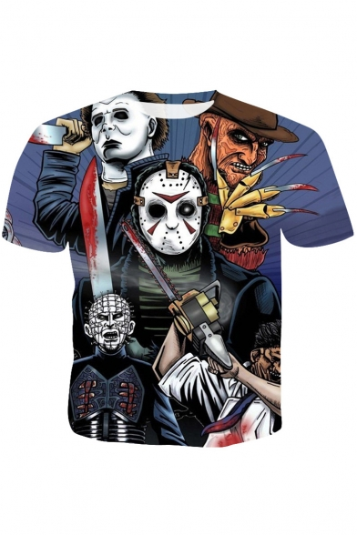 Cool Halloween Horror Skull Figure Print Round Neck Short Sleeve Blue T-Shirt