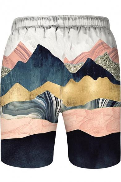 Fashion 3D Mountain Printed Drawstring Waist Parent-Child Holiday Beach Swim Trunks Shorts