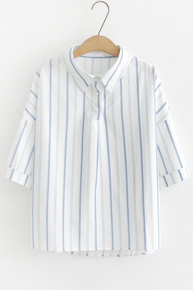 Fashion Blue and White Stripe Printed Turn-Down Collar Loose Fit Shirt for Girls