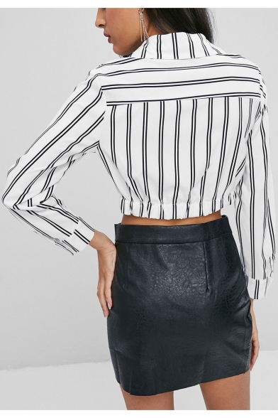 Fashion Vertical Striped Printed Twist Front Long Sleeve Cropped Shirt Blouse