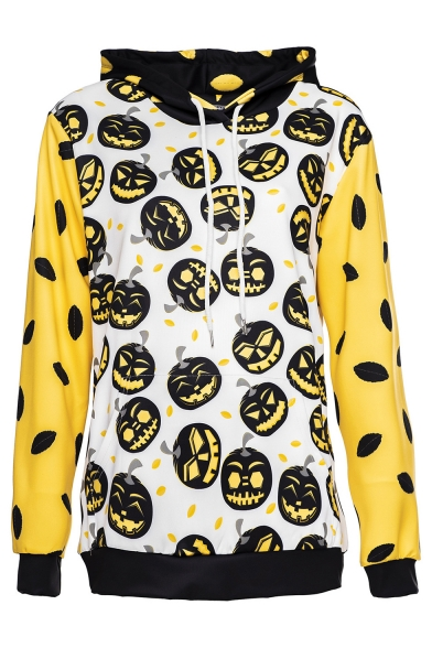 Funny Halloween Pumpkin Print Colorblock Contrast Hem Long Sleeve White Loose Fit Hoodie