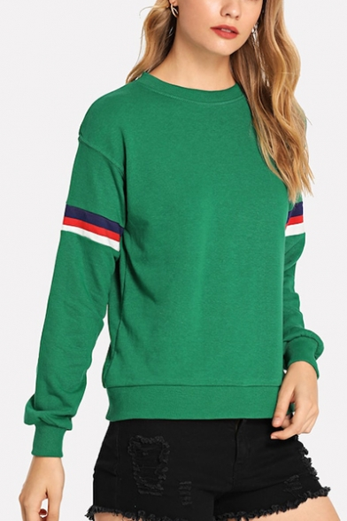 Green Stripe Patched Long Sleeve Round Neck Sweatshirt