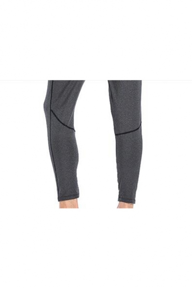 Guys Grey Elastic Waist Simple Logo Printed Quick Dry Breathable Running Yoga Pants Trousers