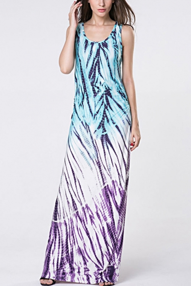 Hot Fashion Scoop Neck Sleeveless Printed Color Block Maxi Tank Dress For Women