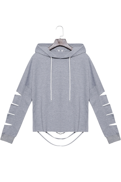Hot Fashion Women's Drawstring Hood Cut-Out Hem Long Sleeve Gray Loose Fit Hoodie