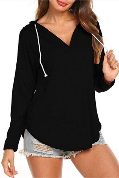 Hot Fashion Women's Solid Color V-Neck Drawstring Hood Long Sleeve Curved Hem Hoodie