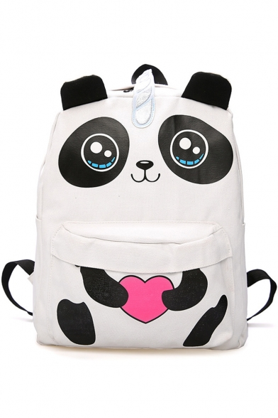 Lovely Panda Pattern White Canvas Travel School Bag Backpack for Girls 41*34*15 CM