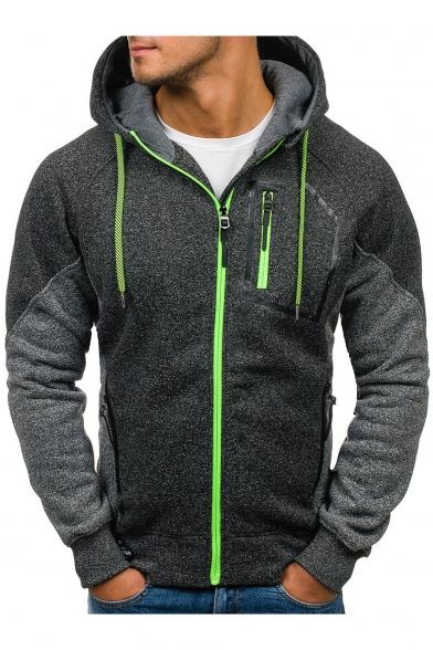 1065531c2 Men's New Trendy Plain Long Sleeve Zip Up Casual Drawstring Hoodie