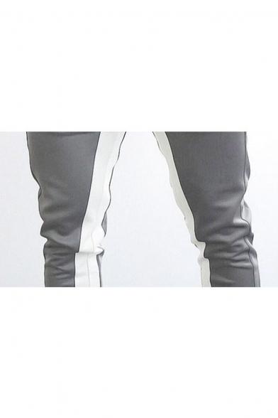 Mens Drawstring Waist Fashion Colorblock Zip Pocket Slim Sport Training Pants
