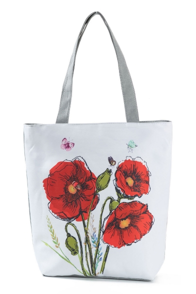 New Fashion Floral Butterfly Printed White School Shoulder Bag 27*11*38 CM