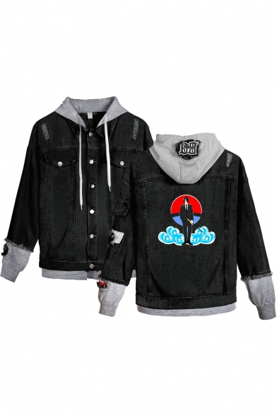 New Stylish Comic Character Cloud Print Patched Hooded Button Down Black Denim Jacket