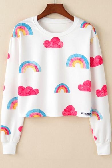 New Stylish Cute Cloud Rainbow Pattern Round Neck Long Sleeve Cropped White Sweatshirt