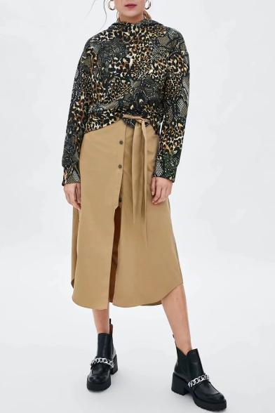 New Stylish Women's Leopard Snake Print Long Sleeve Khaki Hoodie