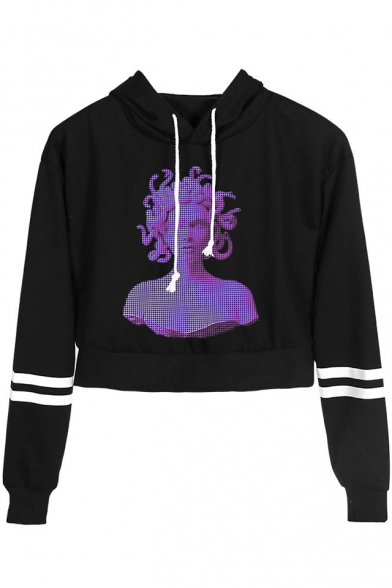 New Trendy Vaporwave Figure Sculpture Striped Long Sleeve Casual Cropped Hoodie, LM533947, Black;dark navy;pink;white;yellow