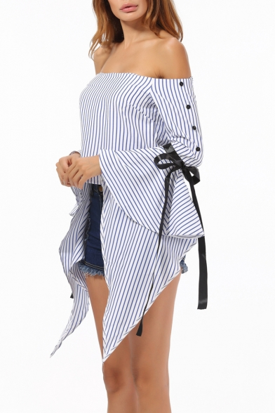 Sexy Off the Shoulder Bow-Tied Ribbon Extra Long Sleeve Striped Cropped Blouse for Women