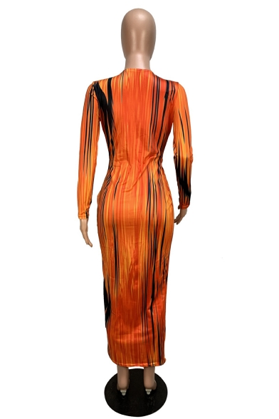 Sexy Plunge Neck Long Sleeve Tie Dye Striped Maxi Orange Pencil Dress