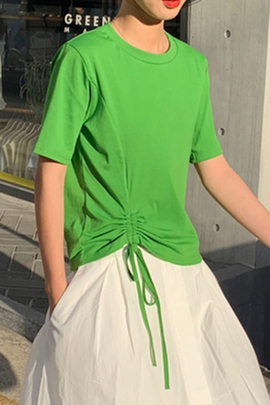 Summer Chic Drawstring Ruched Side Round Neck Short Sleeve Casual Cotton Plain Tee