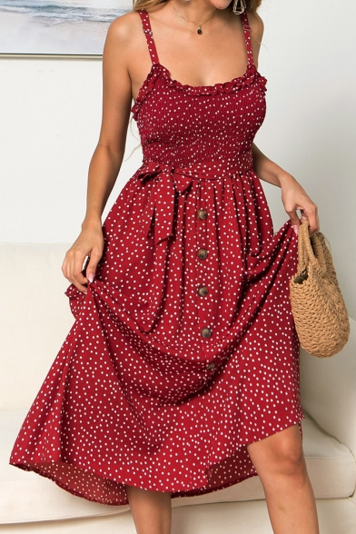 Summer Chic Polka Dot Printed Ruffled Hem Tied Waist Button Front Midi A-Line Strap Dress