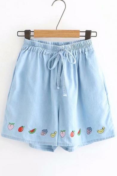 Summer Cute Fruit Embroidery Drawstring Waist Wide Leg Denim Blue Shorts