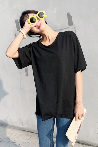 Summer Girls Fashion Hollow Out Knotted Back Round Neck Short Sleeve Plain Casual Tee