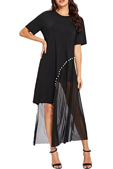 Summer Trendy Black Mesh Panel Beading Embellished Round Neck Short Sleeve Asymmetrical T-Shirt Dress