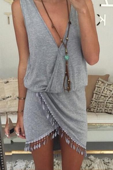 Summer Womens Fashion Simple Plain V-Neck Sleeveless Tassel Hem Mini Sheath Dress