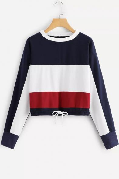 Trendy Color Block Basic Round Neck Long Sleeve Drawstring Hem Casual Sweatshirt