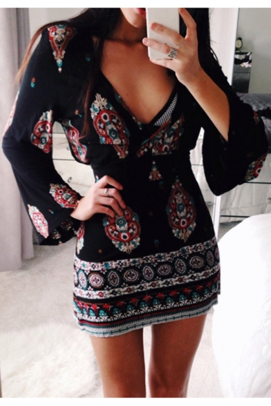 Vintage Black Tribal Printed V-Neck Flared Long Sleeve Mini Bodycon Dress