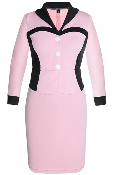 Vintage Victorian Fashion Lapel Collar Long Sleeve Colorblocked Button Front Midi Pencil Dress for Office Lady