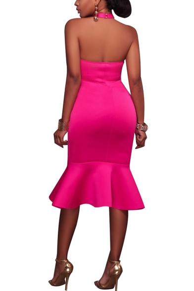 Women's Halter Sleeveless Solid Color Open Back Midi Ruffle Hem Bodycon Dress