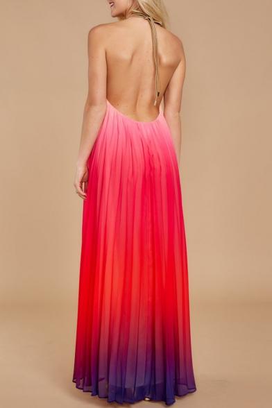 Women's Hot Fashion Halter Neck Sleeveless Colorblock Print Backless Maxi Swing Red Dress