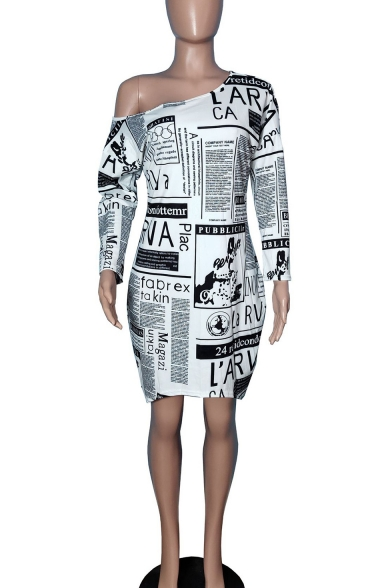 Women's Hot Fashion Letter Print Long Sleeve One Shoulder Loose Midi White A-Line Dress