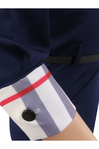 Women's New Trendy Plaid Patched V Neck 3/4 Sleeve Belt Waist Mini Bodycon Slit Dress