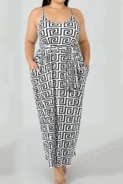 Women's New Trendy Spaghetti Straps Sleeveless Geometric Printed Plus Size Maxi Slip White Dress