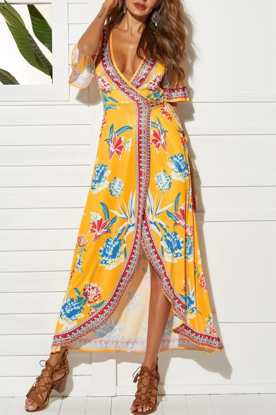 Women's Sexy V-Neck Short Sleeve Floral Printed Split Side Maxi Swing Beach Dress