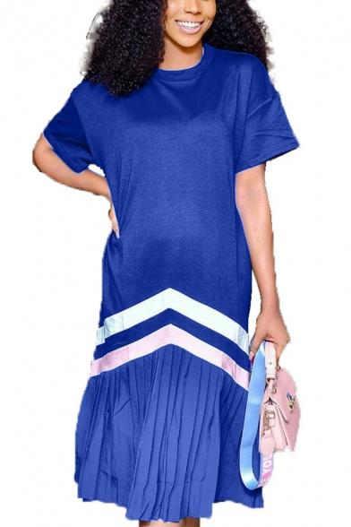 Women's Unique Round Neck Short Sleeve Plain Pleated Hem Midi Casual Navy Shift Dress