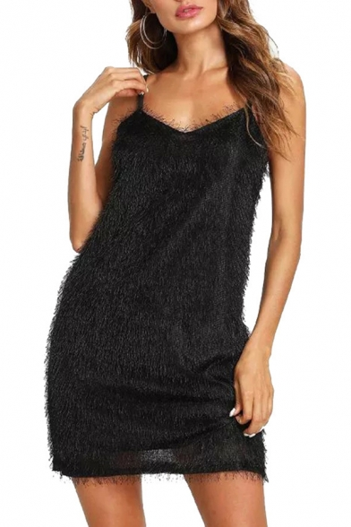 Womens New Fashion Sexy V-Neck Sleeveless Mini Bodycon Cami Little Black Dress