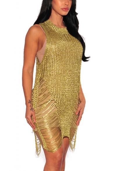 Womens New Stylish Round Neck Sleeveless Ripped Split Side Knit Mini Beach Tank Dress Club Dress
