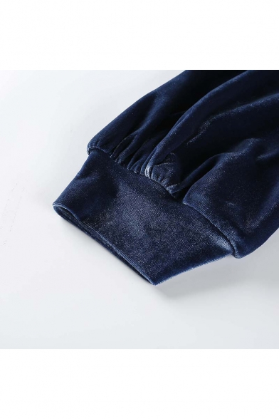 Womens Sexy Plain High Neck Long Sleeve Crop Velvet Sweatshirt